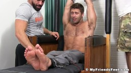 Strong stud tied up has feet tortured with tickles