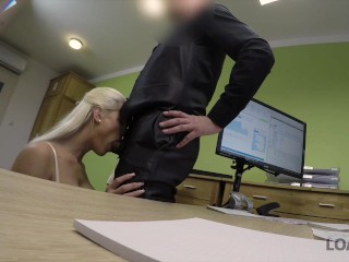 LOAN4K. Agent gives blonde some money for on-line shop with lingeri