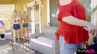 July sleepy stepbro bbq sneak bffs fuck family at se th cock riding
