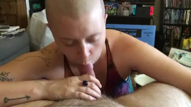 Shaved in head Shaved head girl sucks dick and chokes on huge cum load