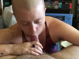 Shaved head girl sucks dick and chokes on huge cum load