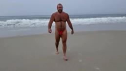 Fire Island beach slow motion walk in red bikini