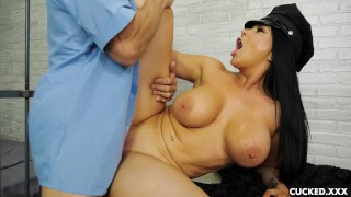 Romi Rain's Pathetic Husband is in Jail so She Fucks the Guard  doggy style big tits cucked cuckold big dick cuckedxxx milf hardcore shaved uniform police tattoos big boobs romi rain black hair fake tits fake boobs