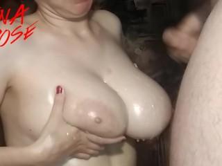 Young cuckoldress cum on my tits masturbate big boobs butt cumshot cum on tits big natura