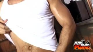 Bald kinky jacking off bear wanking cock