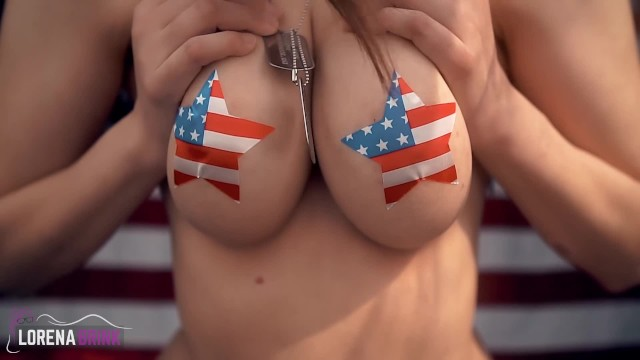July 4th fuck Standing shaking boobs masturbation with nipple pasties happy 4th of july