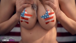 Standing Shaking Boobs Masturbation with Nipple Pasties! Happy 4th of July!