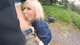 Preview 6 of 4K Public BJ and Anal Creampie in Ski Lift and lot of fuck in mountain hike
