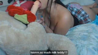 LATINA TEEN PLAYING WITH HER TEDDY BEAR CUM FAKE IN MOUTH porno