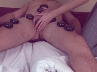 Prostate milking & rimjob after hot massage dick and balls with stones