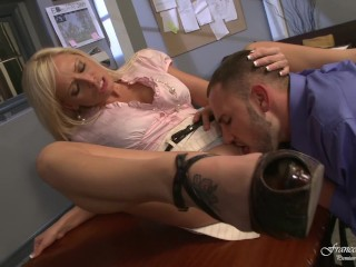Rachel Starr Riding Fucking, Slutty secretary fucks the new employee and takes the cum On the ass Bi