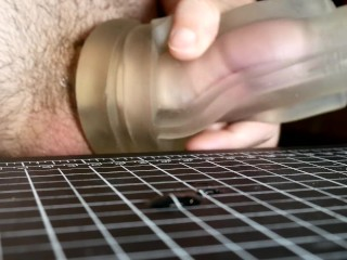 Jerking with a Clear Fleshlight Sleeve - Cumshot Got Cut Off at the End :(