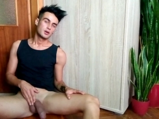 fat tied dick intense jerking. lube with own cum at the end