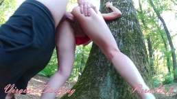 My classmate explores my MOUTH&PUSSYand creampies me during the nature trip