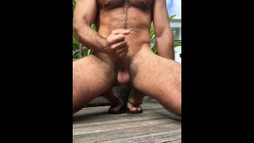 Wanking and cumming outdoors