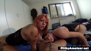 Amateur POV in real orgy with two Italian girls
