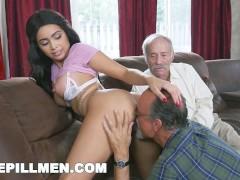 BLUE PILL MEN - Gorgeous Black Pornstar Aaliyah Hadid Fucks Old Men