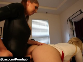 Busty Super Siri Power Grrl Fucked By Strap On Villain!