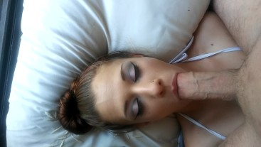 POV Amateur Blowjob Cum Swallowing Facial by Babygirl Rubs Pussy for Amazing Cum on 4th July