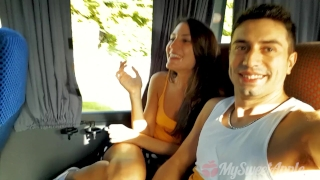 Cute teen sucks  me on a bus - MySweetApple  oral creampie sloppy big cock outside amateur public pov young butt swallow cute deepthroat teenager public transit bus cum in mouth