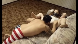 4th of July sexy fuck in basement w/ creampie N Brandy gets tied up!!