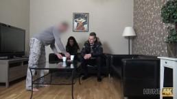 HUNT4K. Cameraman fucks comely brunette next to her grumpy cuckold