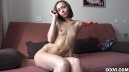 Thin young Susan decided to show pussy and small tits