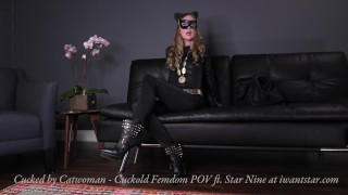 Cucked By Catwoman - Super Villain Cuckold Femdom POV Trailer  kink superheroine costume catwoman femdom pov point of view super villain leather boots cuckold boots blonde