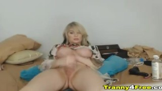 Pretty Face Tranny Babe Masterbates On Webcam