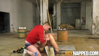 Preview 2 of Tied up homo gets ass fucked by his masters dildos and toys