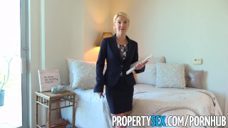 PropertySex - Hot Southern MILF real estate agent gets creampie Skinny pussy