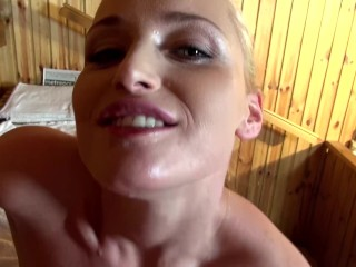 POV Sauna Blowjob Makes Kathia Nobili Suck Loads Of Sperm