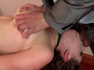 Fetish Slut Samantha Bentley Restrained, Roped & Deep Throat Face Fucked