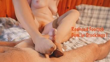 Cum inside Ripped Nylon Stockings   Big Boobs Redhead Footjob in Pantyhose