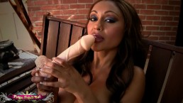 Priya Anjali Rai lubes up a huge dildo and squirts all over