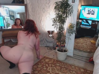 V89 Curvaliscious PAWG DawnSkye in naked yoga and pussy squeezes..