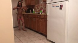 Amateur teen thinking about hot guys, get naked in the kitchen