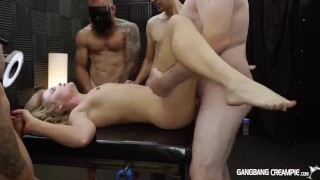 Preview 3 of Skinny blonde gets gangbanged by the cocksmen