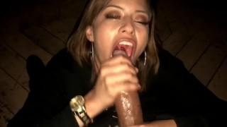 For sloppy tongue babe latina bbc deepthroat gives cumshot blowjob cumshot