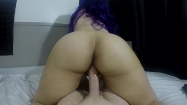 LONG PURPLE HAIR BOUNCES DURING REVERSE COWGIRL POV PAWG CREAMPIE