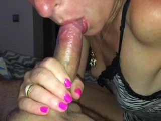 Quickie deepthroat blowjob before going to sleep creampie in mouth