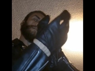 Wearing Biker Leather Pull Gloves on Tight To Smack That Ass ;)