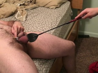 Porn Bronze Ball Slapping My Chastity Locked Husband With Riding Crop, Fetish Toys
