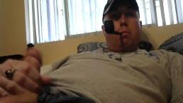 Thrill Sergeant Smoking Pipe and Masturbating to Porn