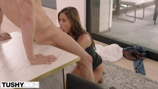 TUSHY European Beauty Gapes For Her Husband's Boss Tits step