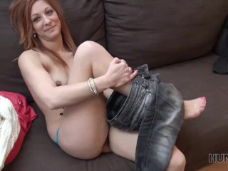 HUNT4K. For money sexy redhead is ready to cheat on her dumb man