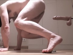 Straight guy experiments fuck machine - anal BBC too big, ass pounding