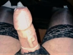 Thick Veiny Cock In Lingerie Fills Condom With Cum