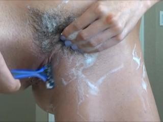 Hairy Bush Grooming Shaving Close Up