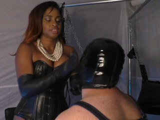 Klara Manson Ebony Mistress Face Slapping Leather Gloves Femdom